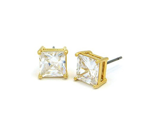 9mm Princess Cut Clear Cubic Zirconia 4-Prong Stud Earrings in Gold-Tone CZQ-G9