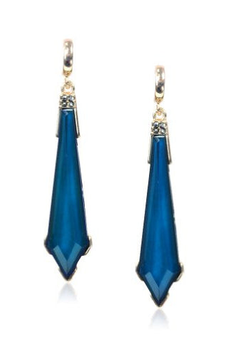 New Gold Tone Blue Epoxy Faceted Colored Stone Sword Ladies Drop Earring Set DVE7385GBL