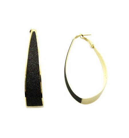 Shimmer Elliptical Hoop Earrings in Black/Gold-Tone