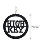 Women's High Key Low Key Phrase Encircled Wood Dangle Pierced Earrings, Black