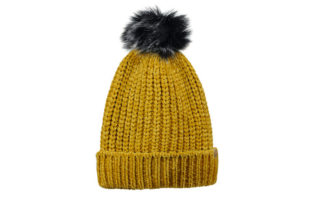 5714e5c1b5b5c9 ... D&Y Warm Knit Chenille Cuffed Style Beanie with Cute Faux Fur ...
