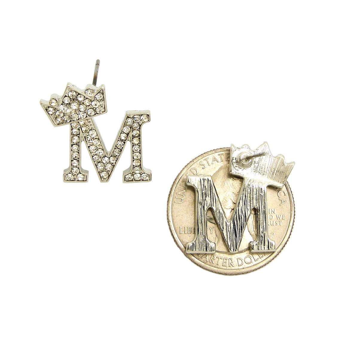 Stone Stud Tilted Crown Initial Pierced Earrings, M/Silver-Tone