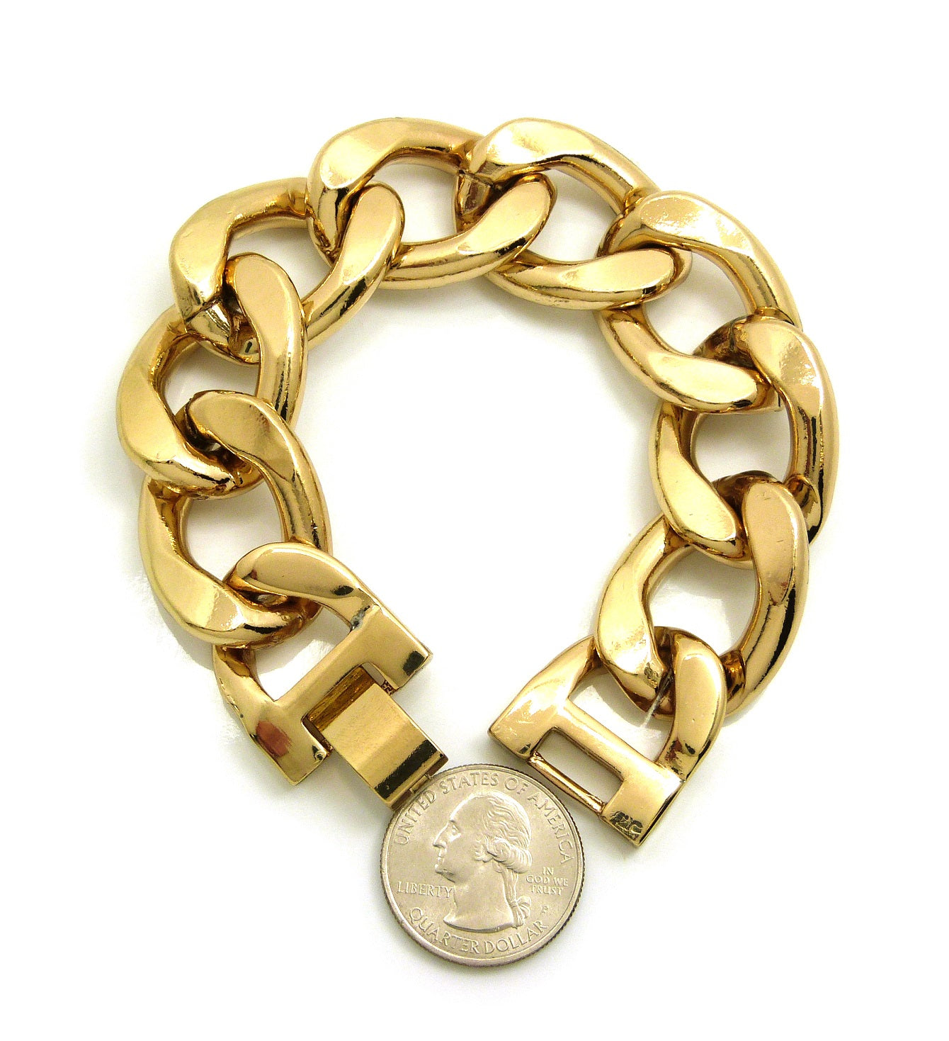 "Celebrity Style 24mm 8.5"" Cuban Link Chain Bracelet in Gold-Tone"