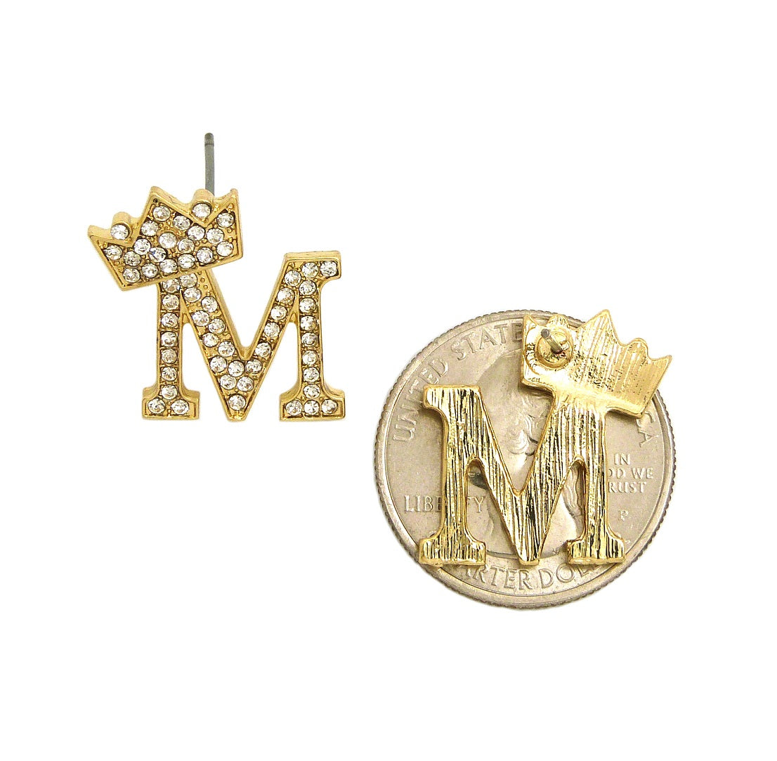 Stone Stud Tilted Crown Initial Pierced Earrings, M/Gold-Tone