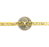 "Women's 6mm 10"" Iced Out Mariner Chain Anklet in Gold-Tone"