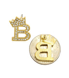 Stone Stud Tilted Crown Initial Pierced Earrings, B/Gold-Tone