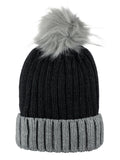 D&Y Rib Knit Beanie With Two Tone Cuff And Faux Fur Pom