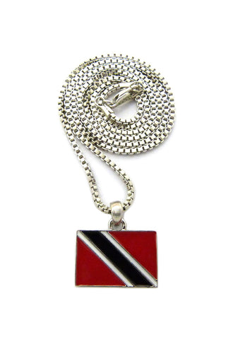 Trinidad and Tobago Flag Micro Pendant w/ Chain Necklace