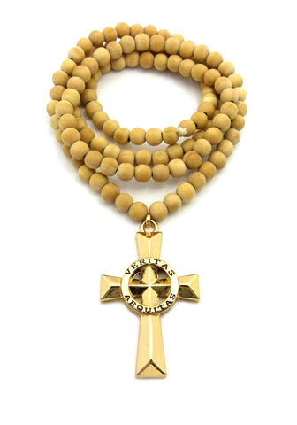 "Veritas Aequitas Truth & Justice Cross Pendant w/ 8mm 36"" Wood Bead Necklace"