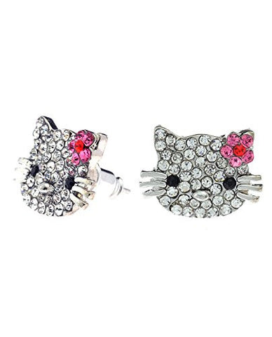 Small Pave Kitty Cat Rhinestone Stud Earrings in Silver-Tone