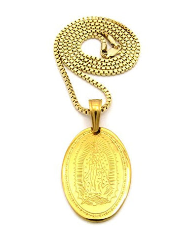 "Imprinted Stainless Steel Virgin Mary Pendant 2.5mm 24"" Box Chain Necklace in Gold-Tone"