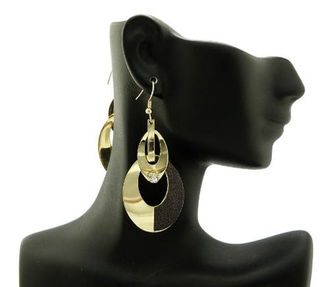 Shimmer Ring Drop Earrigns in Black/Gold-Tone