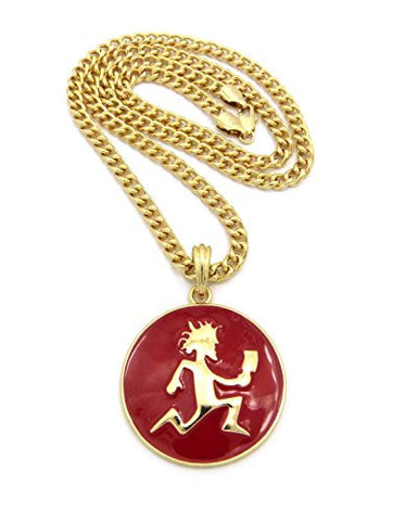 "Hatchetman¢ç Red Medallion Pendant w/ 5mm 24""Cuban Chain Necklace in Gold-Tonee"