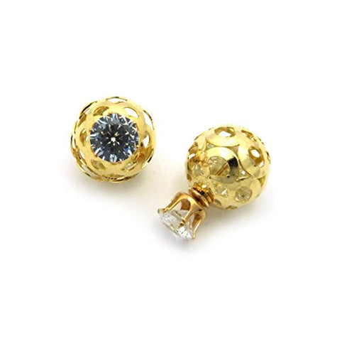 Tribal Sphere Filigree Round Cut Cubic Zirconia Fashion Earrings