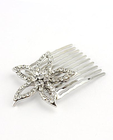 Women's Elegant Bridal Rhinestone Star Flower Hair Comb