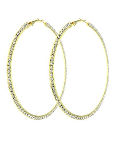 Side Pave Rhinestone Hoop Earrings