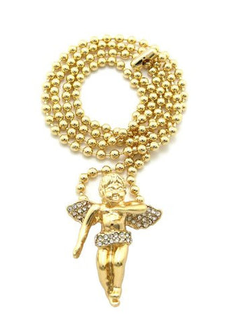 "Very Rare Trendy Mini Micro Angel Pendant w/Rhinestone 3mm 27"" Ball Chain Necklace Gold Color Color MMP2G"