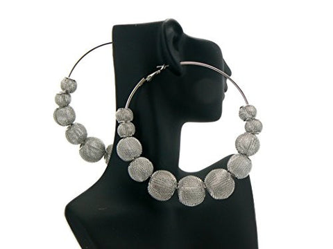 "3.25"" Mesh Ball Hoop Earrings"