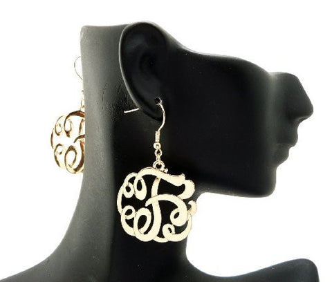 Initial Letter F Celebrity Style Monogram Earrings in Gold-Tone