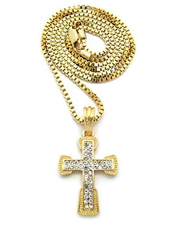 "2 Row Rhinestone Pave Cross Pendant 2mm 24"" Box Chain Necklace"