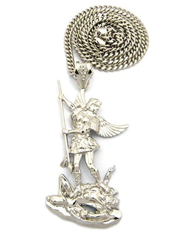 "The Archangel Michael Pendant 6mm 36"" Miami Cuban Chain Necklace in Silver-Tone"