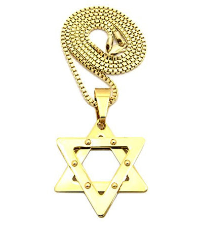 "Stainless Steel Polished Star of David Pendant 2.5mm 24"" Box Chain Necklace in Gold-Tone"