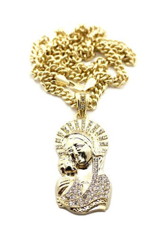 "Saint Mary and Christ Jesus Pendant in Gold Tone w/ 36"" Cuban Chain CP99G"
