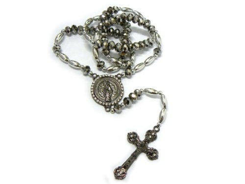 """Round St. Mary Charm with Jesus Cross Pendant 40"""" Rosary Necklace RO46B"""