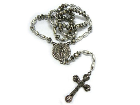 "Round St. Mary Charm with Jesus Cross Pendant 40"" Rosary Necklace RO46B"