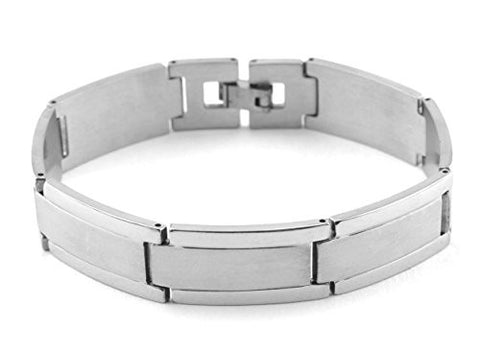 NYfashion101 Fashionable Rectangular Silver-Tone Stainless Steel Bracelet 4019