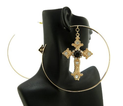 Fabulous Gold/Black Color Cross Charm Large Size Hoop Earrings DE1125GDBLK