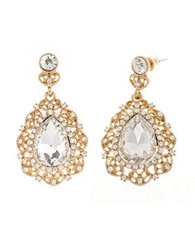 Women's Filigree Clear Teardrop Stone Dangling Earrings in Gold-Tone