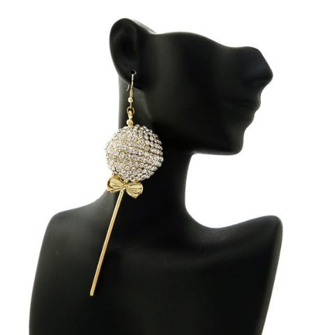 Lollipop Drop Earrings in Clear/Gold-Tone