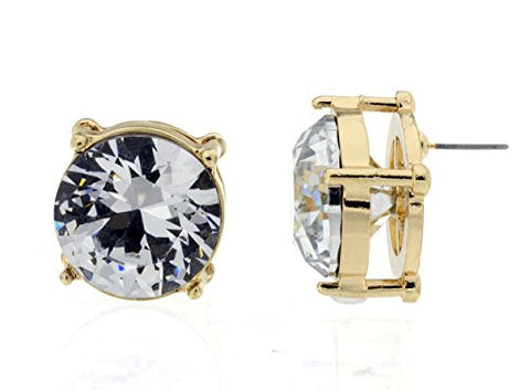 Big 20mm Round-Cut Faceted Rhinestone Stud Earrings in Clear/Gold-Tone
