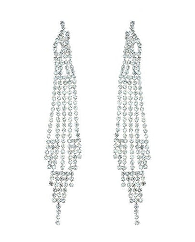 Clear Pave Rhinestone Strand Drop Earrings in Silver-Tone