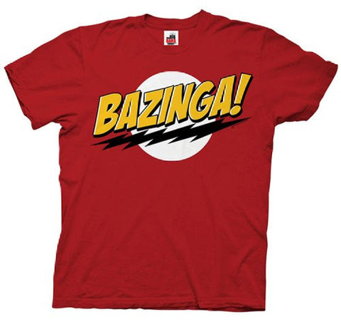 Official Big Bang Theory Bazinga No Face Mens T-shirt Red