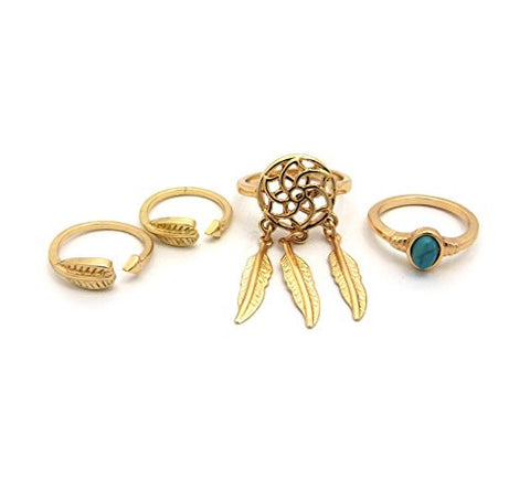 4 Piece Turquoise Stone Tribal Inspired Midi Ring Set