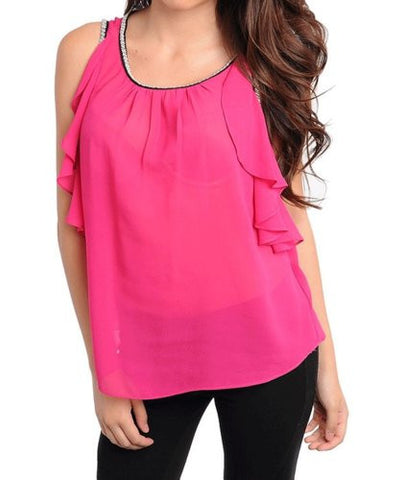 NYfashion101 Flowy Sleeveless Top w/Shirred Neckline Embellished Trimmings Fuschia