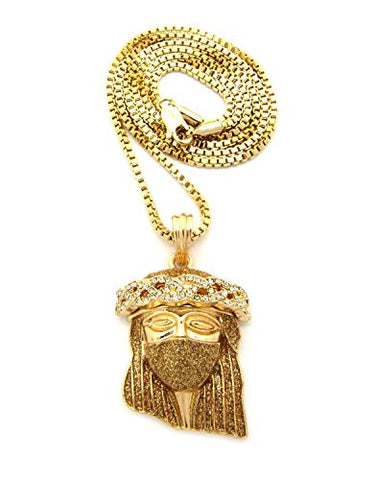 "Pave Mask Jesus Pendant 2mm 24"" Box Chain Necklace in Gold-Tone"