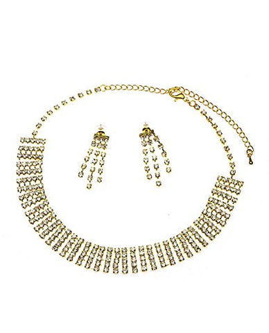 5 Row Rhinestone Link Chain Extendable Choker Necklace & Earring Jewelry Set