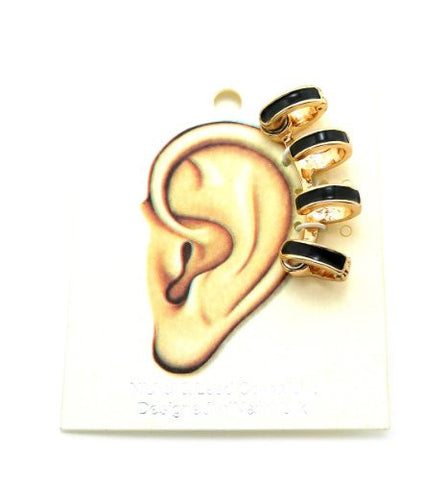 Black Accent Magnetic 4 Ring Ear Cuff in Gold-Tone