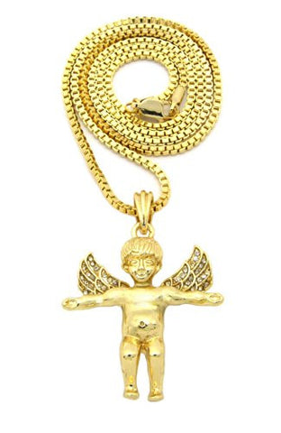 Baby Angel Cherub Flying Wing Pendant w/ Box Chain Necklace