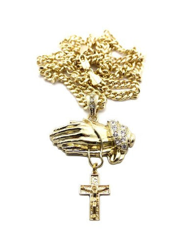 "Praying Hands and Cross Pendant in Gold Tone w/ 6mm 36"" Miami Cuban Chain CP100G"