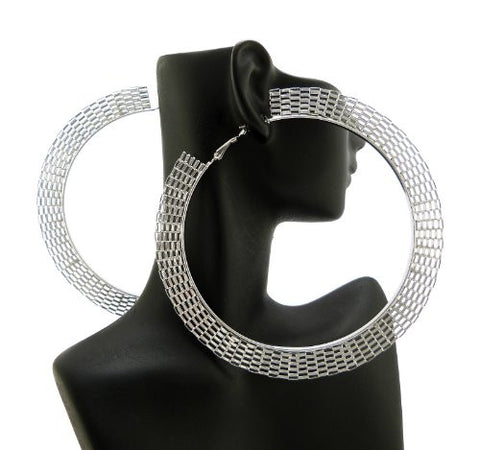 Silver Tone Metal Net Style Hoop Earrings CE1018RD