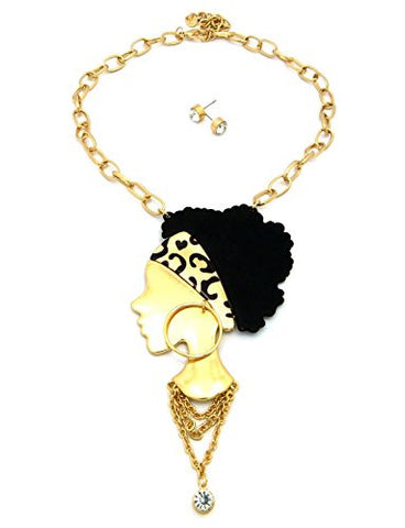Leopard Headband Girl Solitaire Necklace w/ Earrings in Gold Tone JE1021GDLEO