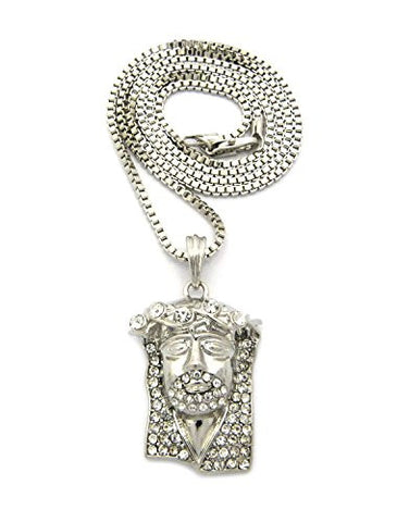 "Rhinestone Crown Jesus Pendant 2mm 30"" Box Chain Necklace in Silver-Tone"