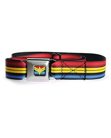 Ms. Marvel Star Logo Red/Gold/Blue Striped Seatbelt Belt