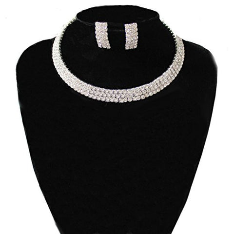 Clear 3 Row Elastic Flexing Rhinestone Choker Necklace and Earrings Jewelry Set