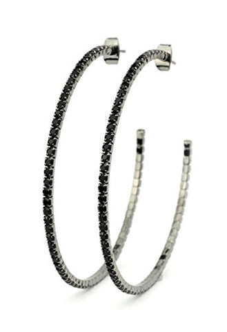 Jet Swarovski Elements 55mm Flex Hoop Earrings in Hematite-Tone MADE IN KOREA IKE1002HJ