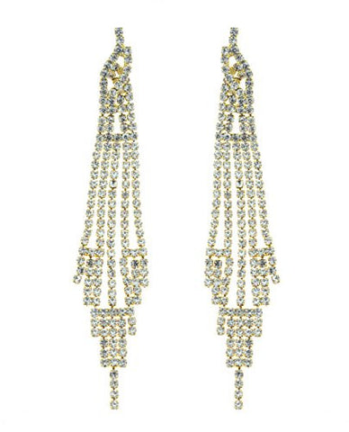 Clear Pave Rhinestone Strand Drop Earrings in Gold-Tone